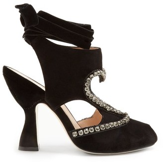 Fendi Heart Cut Out Crystal Detail Velvet Pumps - Womens - Black