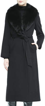 Sofia Cashmere Fur-Collar Belted Long Wrap Coat