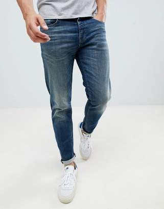 Selected Washed Blue Jeans In Tapered Fit
