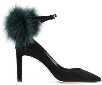 at Farfetch Jimmy Choo fur pom pom Mary Jane pumps
