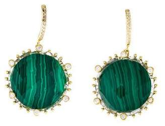 Frederic Sage 18K Quartz, Malachite & Diamond Drop Earrings