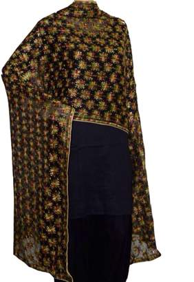 Silk Route Ethnic Phulkari Dupatta / Traditional Scarf / Long Stole / Chunni in exquisite design