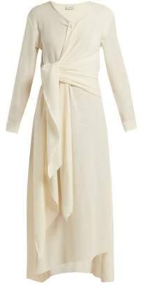 Lemaire Knotted Wool Blend Midi Dress - Womens - Ivory
