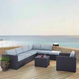 Crosley Furniture Biscayne Patio Wicker Loveseat, Chair, Coffee Table & Ottoman 6-piece Set