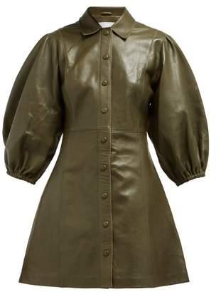 Ganni Mernati Puffed Sleeve Leather Dress - Womens - Khaki