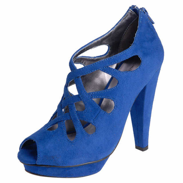 Blue caged platform shoes
