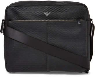 Armani Jeans Black Reporter Laptop Woven Messenger Bag