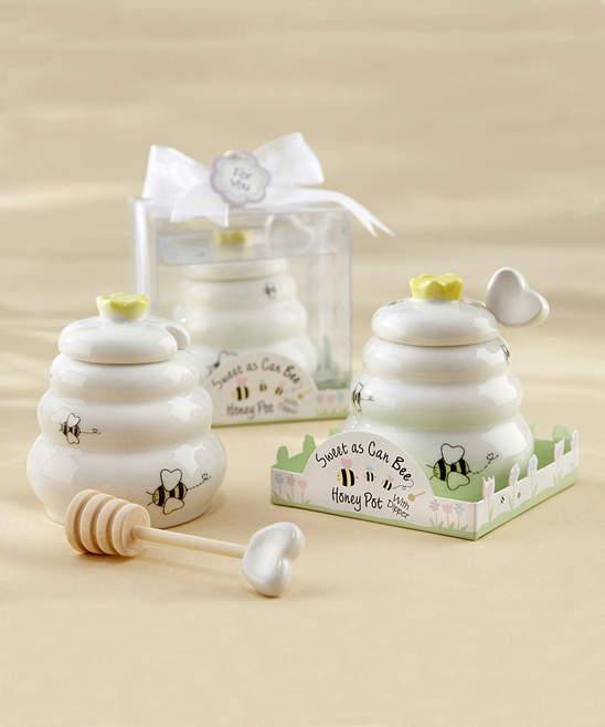 Sweet As Can Bee Honey Pot & Dipper - Set of 12
