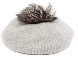 Sofia Cashmere Genuine Fox Fur Pompom Jersey Cashmere Beret