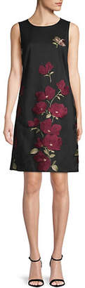 Karl Lagerfeld PARIS Floral Embroidered Mesh Sheath Dress