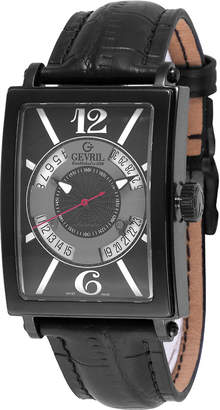 Gevril Men's Automatic-Self-Wind Avenue of Americas Black Leather Strap Watch