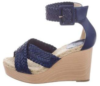 Hermà ̈s Braided Leather Ankle-Strap Wedges blue Hermà ̈s Braided Leather Ankle-Strap Wedges