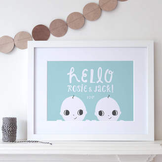 Small Dots Personalised Twins Print