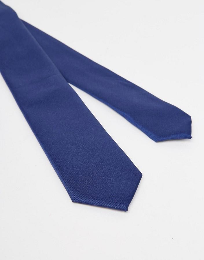 Asos Slim Tie In Navy