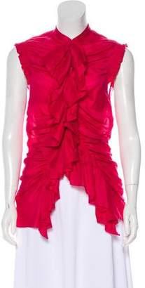 Donna Karan Sleeveless Ruffled Button-Up