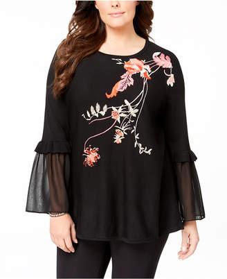 Alfani Plus Size Embroidered Tunic Sweater, Created for Macy's