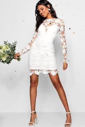 boohoo Boutique Lace Tie Back Bodycon Dress