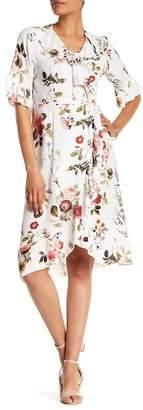 Luma Floral Ruffle Crepe Wrap Dress