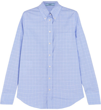 Prada - Prince Of Wales Checked Cotton-poplin Shirt - Light blue