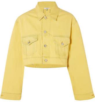 Ganni Cropped Denim Jacket - Yellow