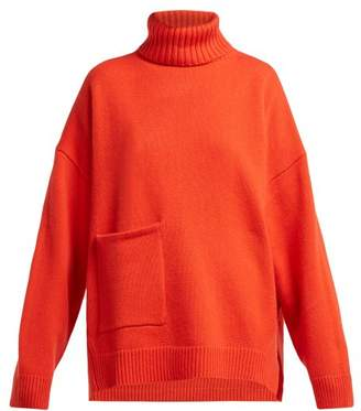 Tibi Patch Pocket Roll Neck Cashmere Sweater - Womens - Red