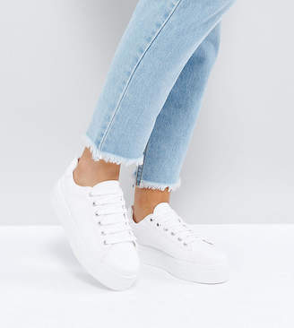 Asos Design DESIGN Wide Fit Day Light chunky flatform Lace Up Sneakers