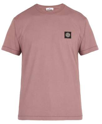 Stone Island Logo Patch Cotton Jersey T Shirt - Mens - Pink