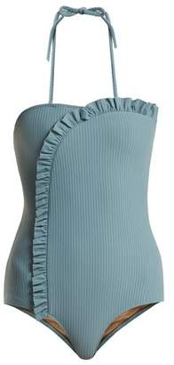 Made by dawn Made By Dawn - Arc Ruffle Trimmed Swimsuit - Womens - Light Blue
