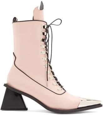 Marques Almeida MARQUES'ALMEIDA Point-toe lace-up 'MA' leather ankle boots