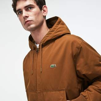 Lacoste Men's Short Hooded Zippered Quilted Cotton Twill Jacket