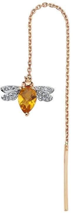 Bee Goddess Rose Gold Diamond and Citrine Honey Bee Ear Cuff