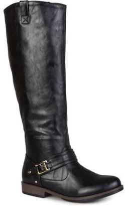 Brinley Co. Women's Round Toe Buckle Detail Boots