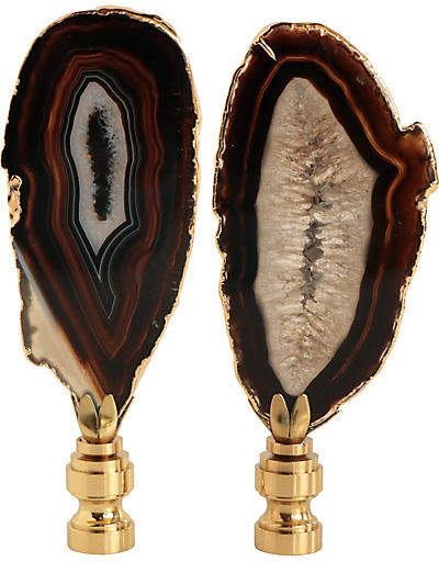 One Kings Lane Vintage Gold Gilded Agate Lamp Finials - Set of 2 - Pythagoras Place