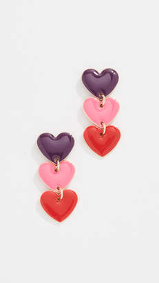 Shashi Enamel Heart Drop Earrings