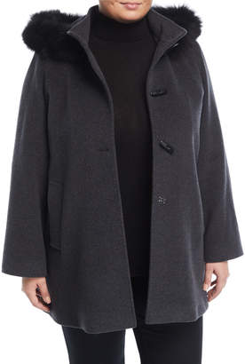 Cinzia Rocca Plus Toggle Coat with Detachable Fur-Trim Hood, Plus Size