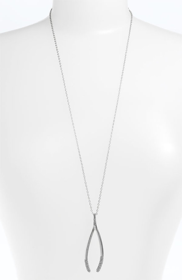 House of Harlow 1960 'Pave Dipped Wishbone' Pendant Necklace