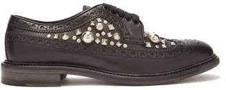 Burberry Studded Leather Derby Shoes - Mens - Black