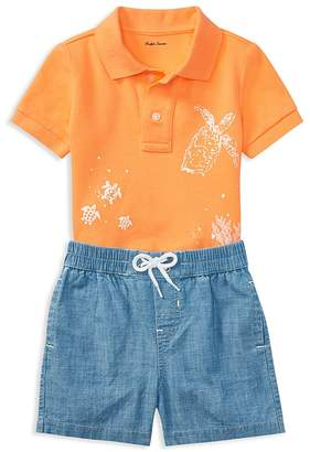 Ralph Lauren Boys' Mesh Graphic Polo & Chambray Shorts Set - Baby