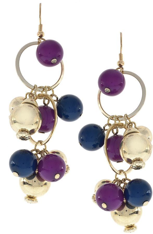 French Connection Multi ring & bead drop earrings