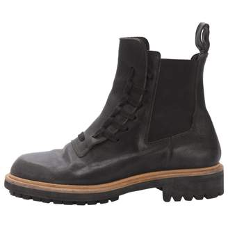 Kris Van Assche Anthracite Leather Boots