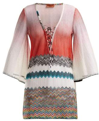 Missoni Mare - Zigzag Lace Up Kaftan - Womens - Pink Multi