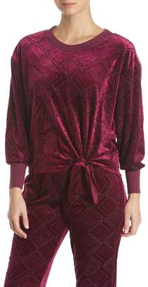 Midnight Bakery Geo Velvet Burnout Tie Front Pullover