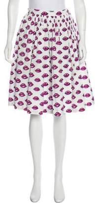 Prada 2017 Lip Print Pleated Skirt w/ Tags