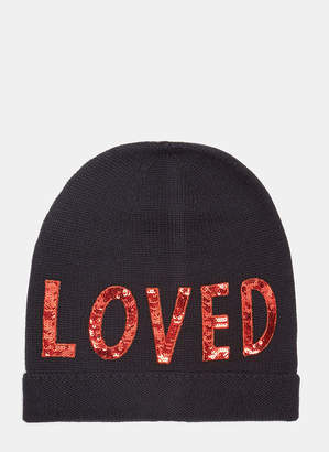 Gucci Sequin Embroidered Loved Knit Hat in Navy