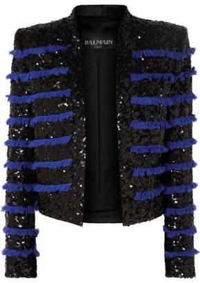 Balmain Cropped Fringed Sequined Tweed Jacket - Black