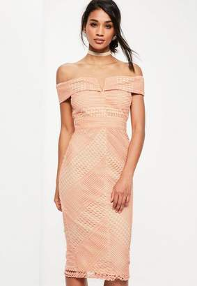 Missguided Pink Lace V Bardot Midi Dress, Pink