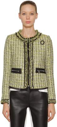 Karl Lagerfeld Cotton Blend Bouclé Jacket