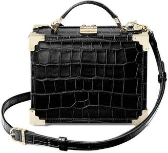 Aspinal of London Mini Trunk Clutch In Deep Shine Black Croc With Gold Hardware