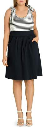 City Chic Plus Ahoy Knot-Trimmed Fit-and-Flare Dress