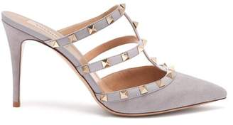 Valentino Rockstud Suede Mules - Womens - Grey